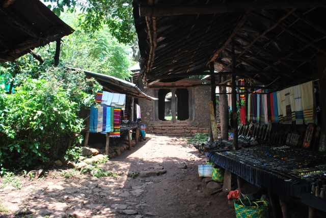 souvenir shops near the entrance to Ura Kidane Mihret compound, Ethiopia