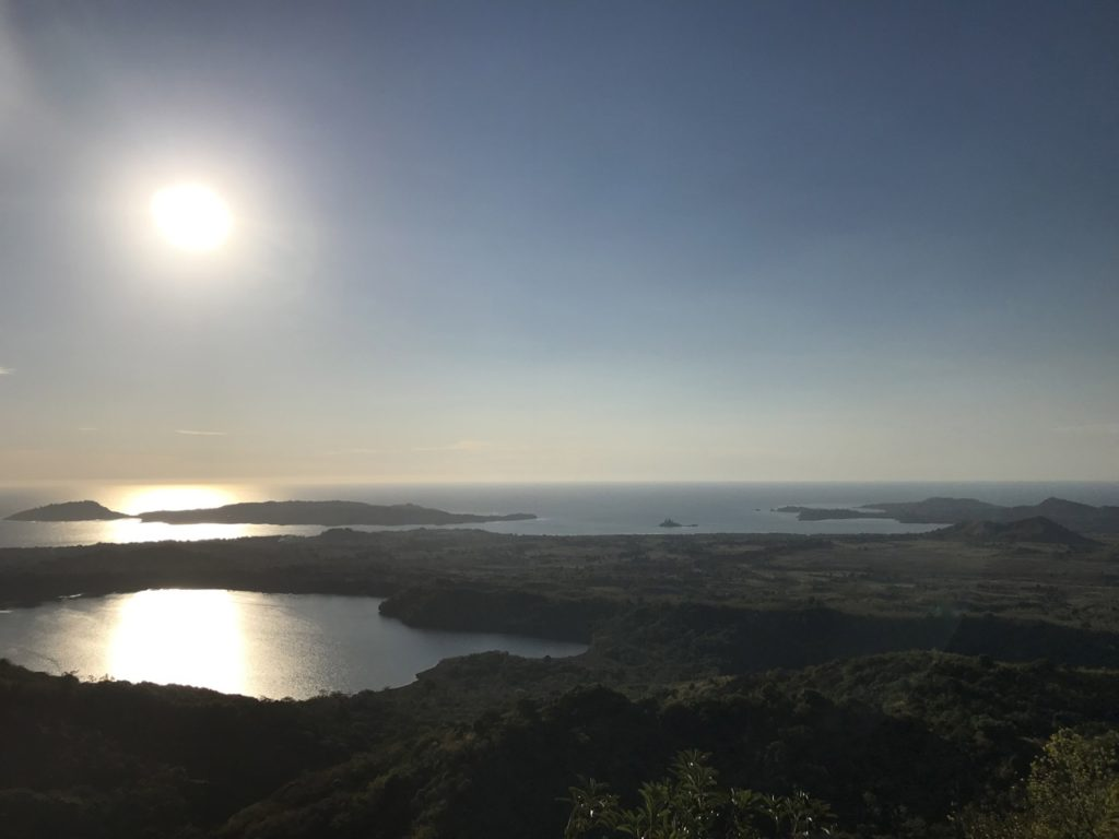 Sunset view from Mont Passot over lakes and Sakatia island, Nosy Be, Madagascar