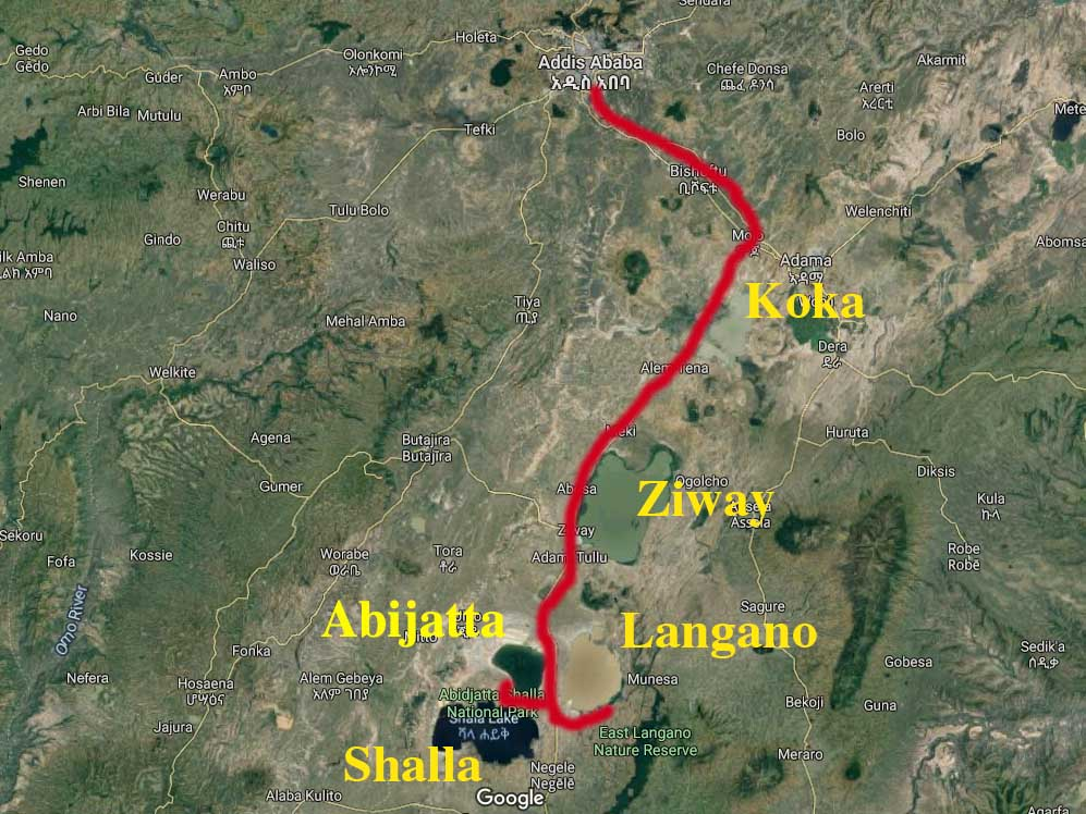 Route from Addis Ababa to lakes Ziway, Langano, Abijatta and Shalla, Ethiopia