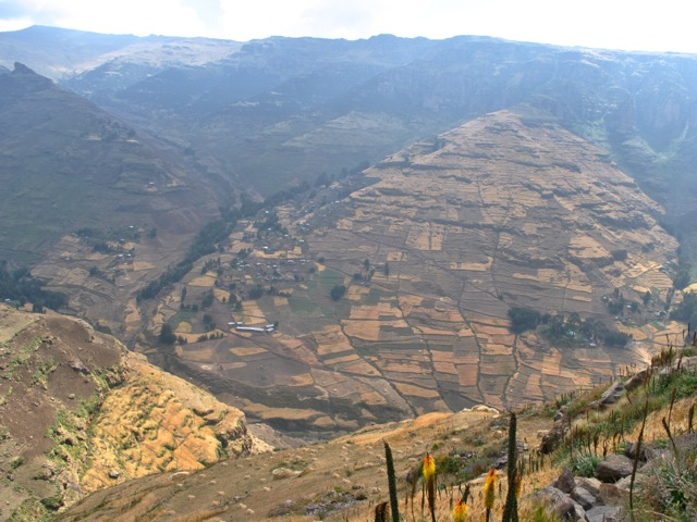 Villages and field on the slopes near Simien mountains park, Ethiopia