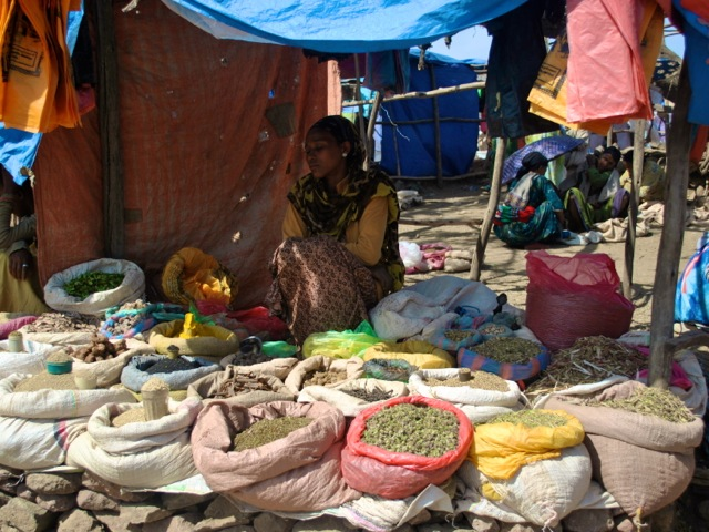 Trader with spices and herbs, Lalibela market, Ethiopia