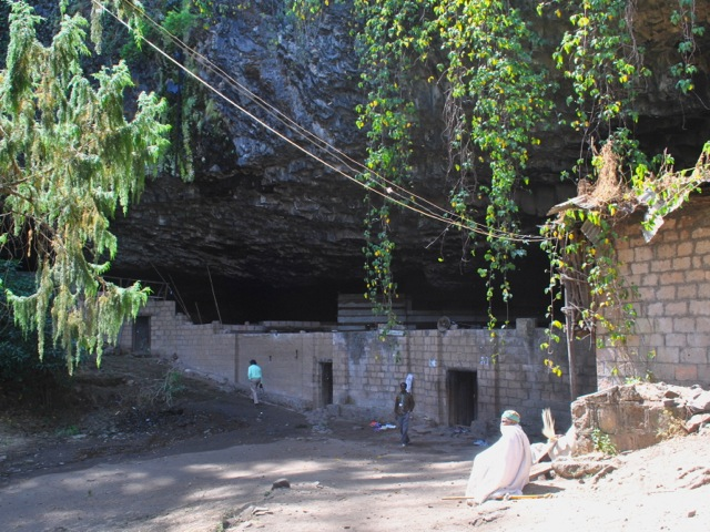 Protective wall and entrance to Yemrehanna Kristos monastery, Ethiopia