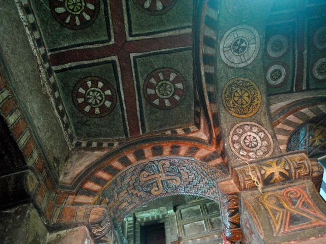 Bet Maryam painted ceiling, Lalibela, Ethiopia