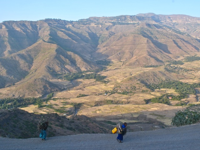 Views around Lalibela and women carrying wood, Ethiopia