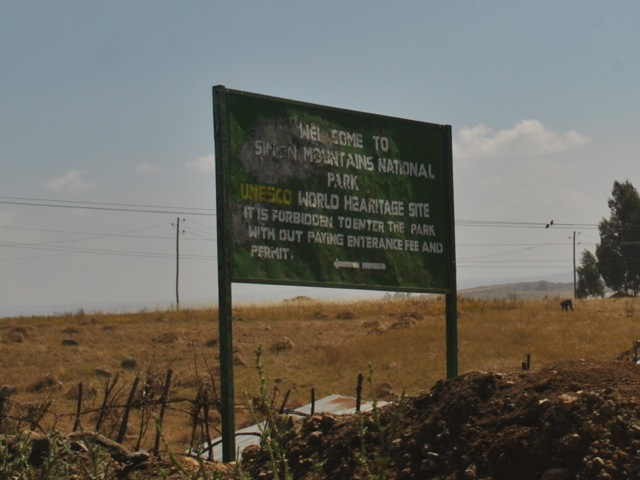 Simien mountains national park entrance sign, Ethiopia