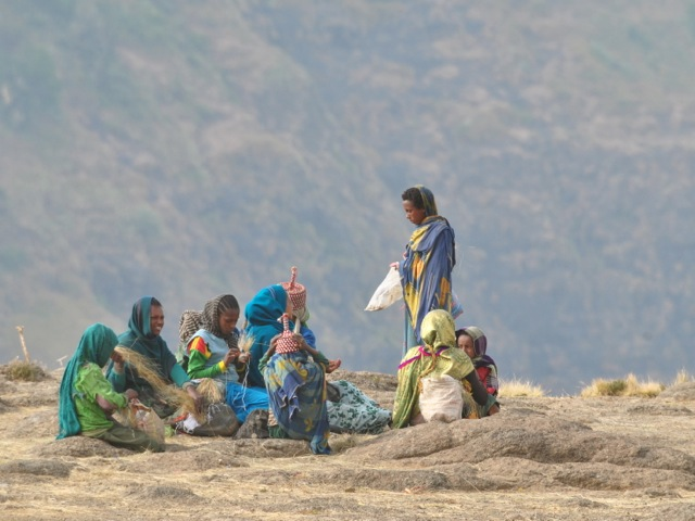 Locals in Simien Mountains national park, Ethiopia