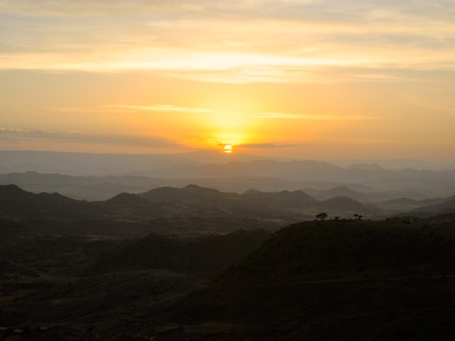 Sunset view from Sora lodge, Ethiopia