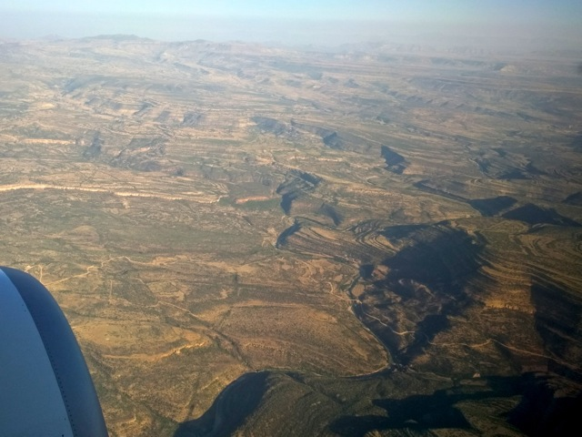 View from airplane on approach to Mekele, Ethiopia