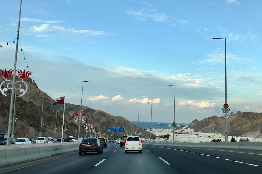 Highway towards old town Muscat and harbor, Oman